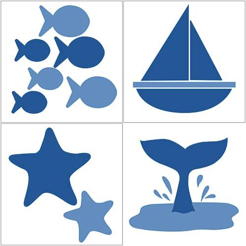 Lot de 4 stickers Bateaux et Poissons Bleus