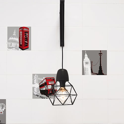 sticker adhésif Londres avec lampe design