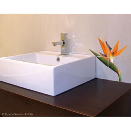 Sticker Fleur exotique pour carrelage dans une salle de bain