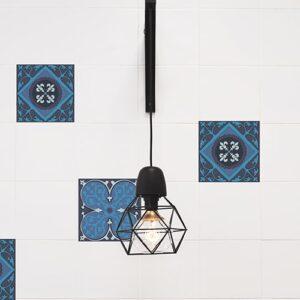 sticker autocollant Faux carreaux de ciment avec lampe design