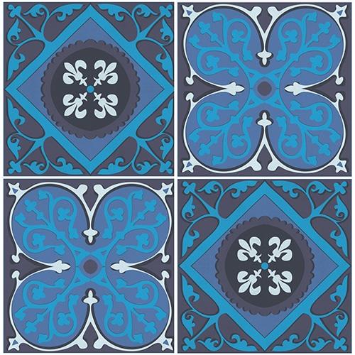 sticker autocollant Faux carreaux de ciment bleus