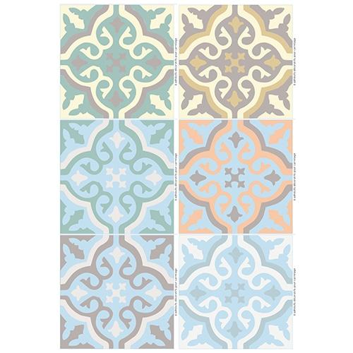 Stickers effet Carreaux de ciment colorés