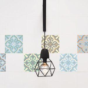 Stickers effet Carreaux de ciment vieilli avec lampe design