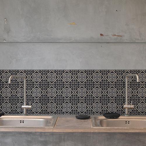 Adhésif décoration carrelage en béton gris