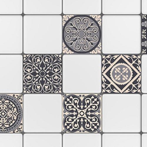 Adhésif ciment gris pour décoration carrelage blanc dans une cuisine