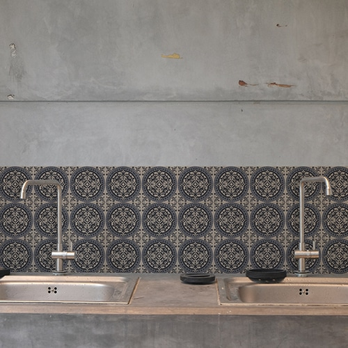 Adhésif décoration ciment gris pour carrelage en béton gris