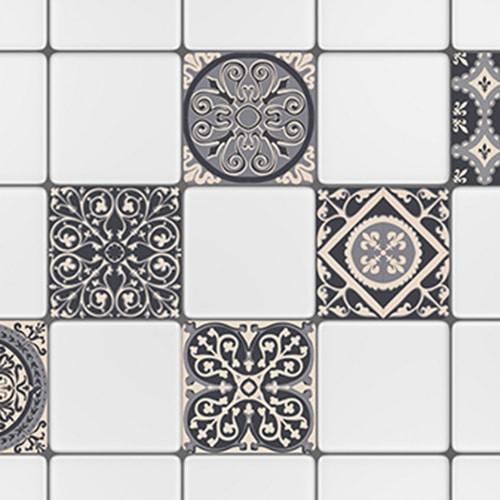 Sticker adhésif décoration ciment gris pour carrelage