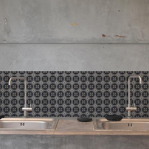 Adhésif déco ciment gris pour carrelage en béton gris
