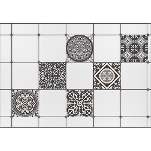 Stickers imitation faux carreaux de ciment gris mis en ambiance, 4ème proposition