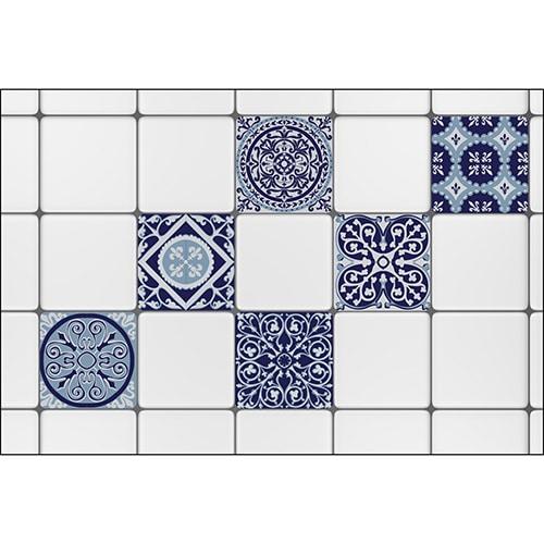 Stickers imitation Ciment bleutés