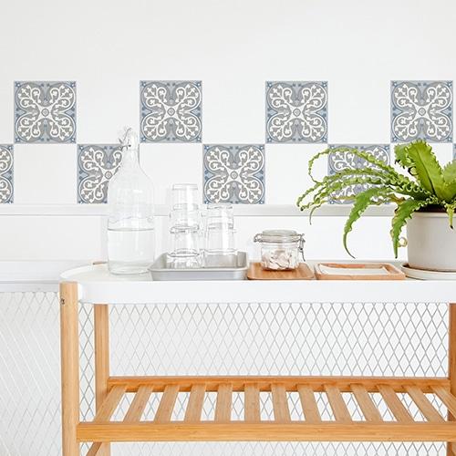 Adhésif ciment souris pour déco carrelage blanc de salle à manger