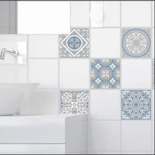 Sticker adhésif décoration ciment souris pour carrelage blanc de salle de bain