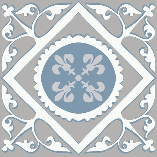 Sticker adhésif ciment souris bleu et gris pour déco de carrelage