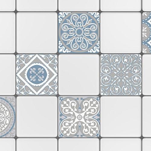 Sticker autocollant ciment souris bleu et gris pour décoration de carrelage blanc de cuisine