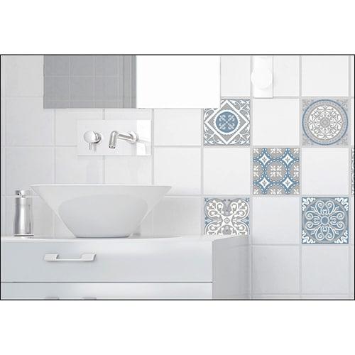 Sticker mural imitation Carrelage Carreaux de Ciment Souris salle de bain