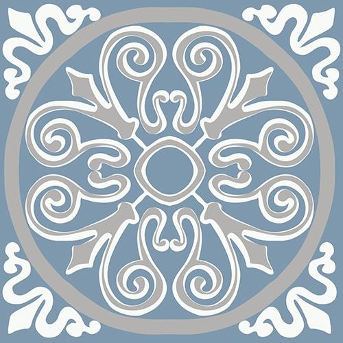 Sticker autocollant déco ciment souris bleu, blanc et gris pour carrelage