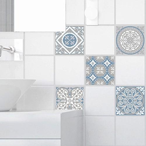 Autocollant ciment souris bleu, blanc et gris pour décoration de carrelage blanc de salle de bain