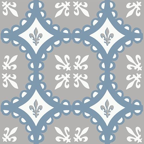 Sticker autocollant déco carrelage ciment souris bleu, blanc et gris