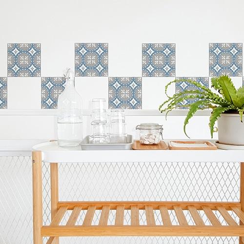 Autocollant décoration carrelage blanc ciment souris bleu, blanc et gris pour salle à manger