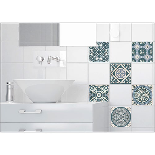 Stickers effet Carreau de ciment bleus et vert dans une salle de bain