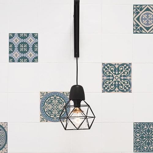 Stickers effet Carreau de ciment bleus et vert avec lampe design