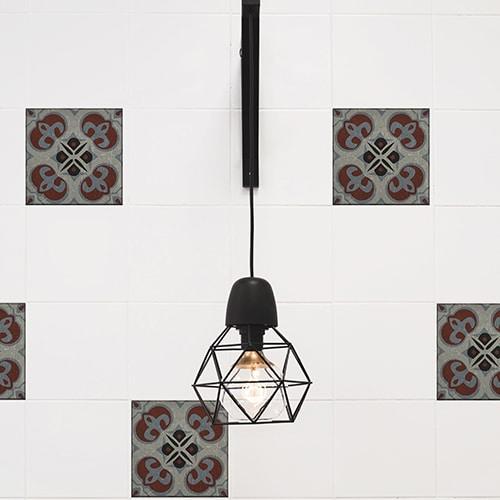 Sticker effet Carrelage Carreaux Ciment Vieillis Rouge/Bleu avec lampe design