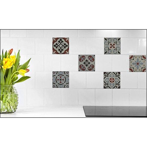 10 Stickers effet Carrelage Carreaux Ciment Vieillis Rouge/Bleu avec fleur décorative