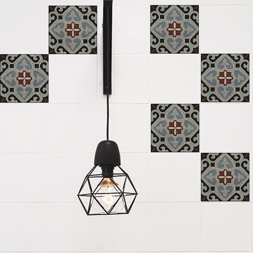 Autocollant gris collection Ozzano pour décoration de carrelage blanc de cuisine