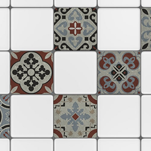 Adhésif Ozzano gris décoration pour carrelage blanc de cuisine