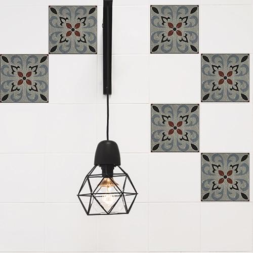 Autocollant décoration de carrelage blanc de cuisine gris Ozzano