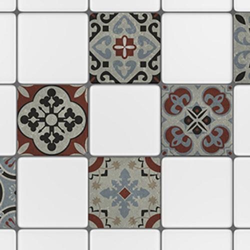 Adhésif sticker pour carreaux blanc Ozzano gris pour décoration intérieur de cuisine