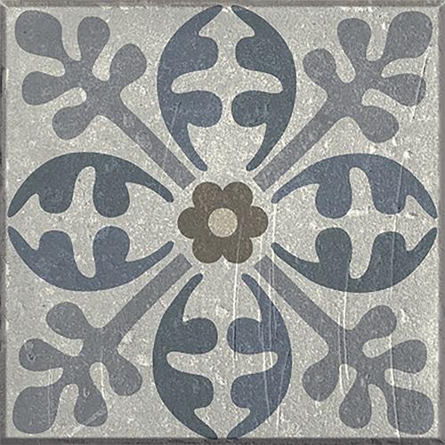 Sticker adhésif effet Carrelage Carreaux Ciment Vieillis Bleu et Taupe