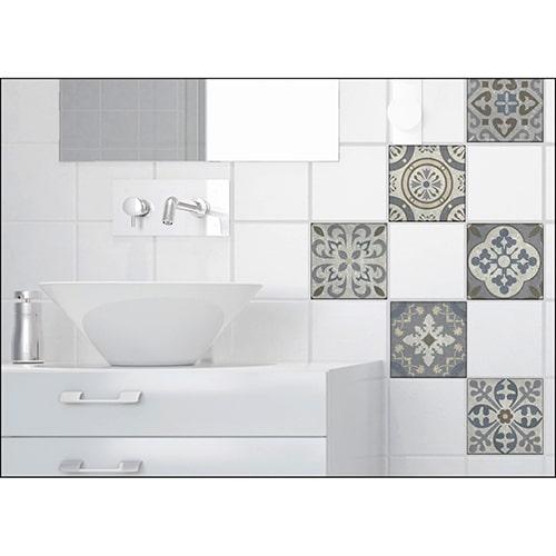 Sticker effet Carrelage Carreaux Ciment Vieillis Bleu et Taupe dans une salle de bain