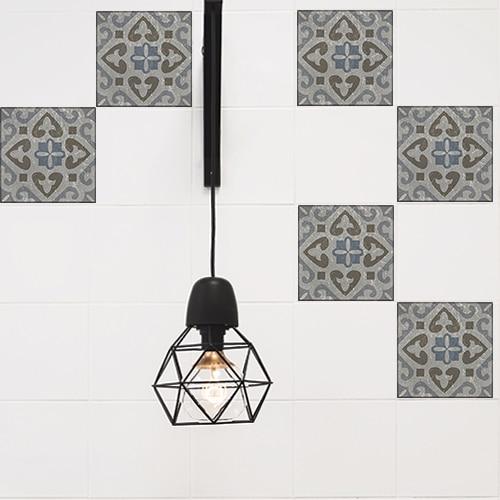 Adhésif décoration intérieur Borgatella gris pour carrelage blanc de cuisine