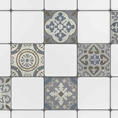 Adhésif sticker gris Borgatella pour décoration de carreaux blanc de carrelage de cuisine