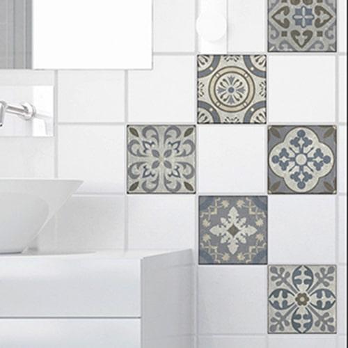Adhésif sticker décoration de carrelage Borgatella pour salle de bain moderne
