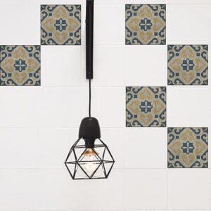 Autocollant Celletta jaune, gris et bleu pour décoration de carreaux blanc de cuisine