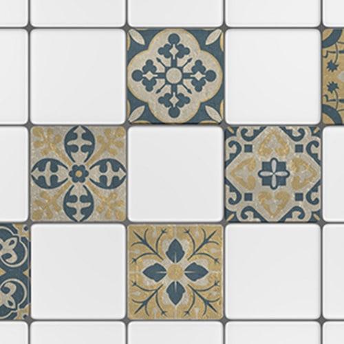 Adhésif décoration collection Celletta jaune, gris et bleu pour carreaux blanc de cuisine