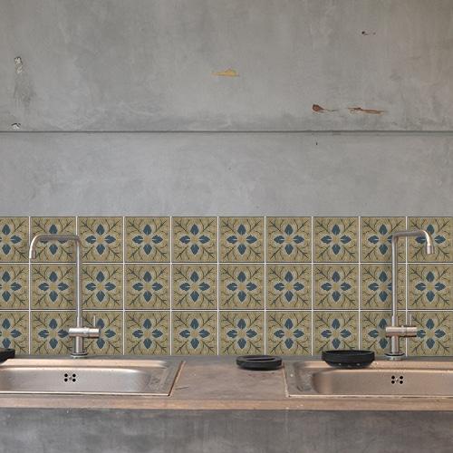 Sticker déco pour carrelage Celletta au dessus d'un évier de cuisine