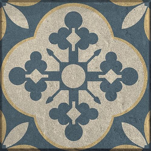 Sticker adhésif gris, bleu et jaune déco gamme Celletta pour carrelage mural
