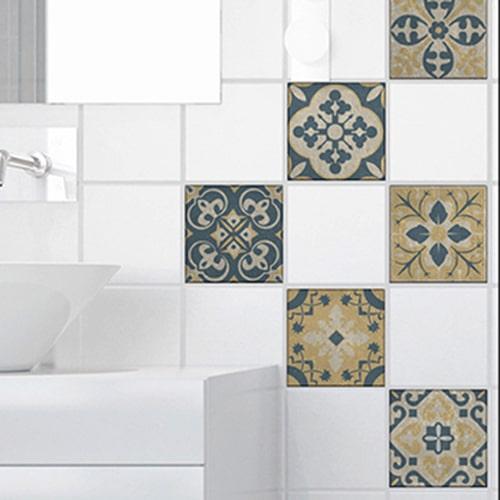 Autocollant sticker Celletta gris, bleu et jaune déco pour carrelage blanc de salle de bain moderne