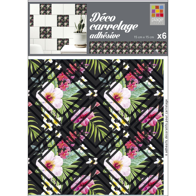 carrelage adhésif motif fleurs tropicales