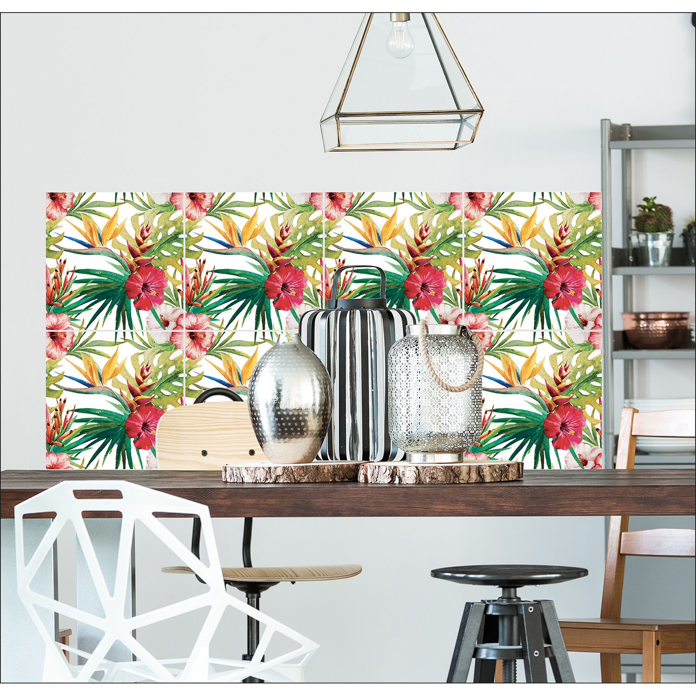 cuisine moderne avec des stickers fleurs tropicales