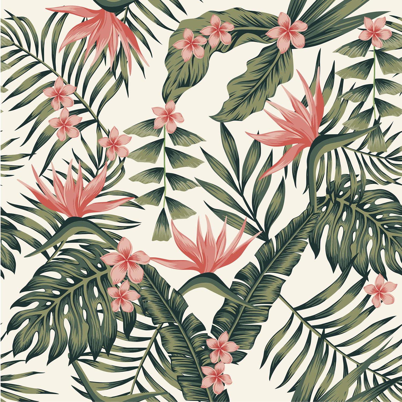 sticker carrelage jungle tropicale rose et vert