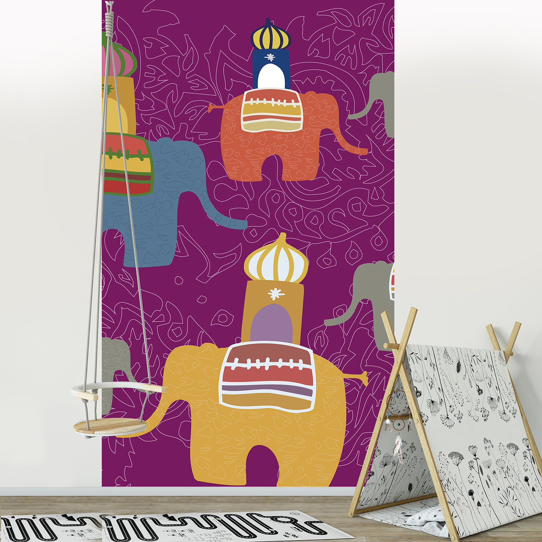 chambre décorée avec un panoramique éléphants
