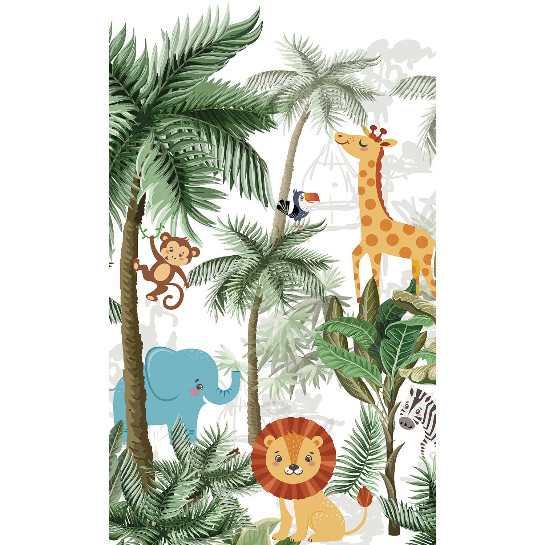 panoramique papier intissé jungle et animaux de la savane
