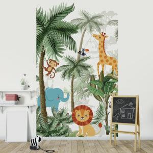 chambre d'enfant décorée avec un panoramique jungle