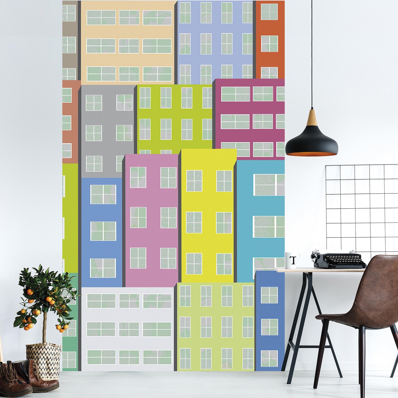 Poster décoratif géant, style urbain moderne, formes géométriques superposées, couleurs acidulées, teintes du sud, papier intissé facile à poser.
