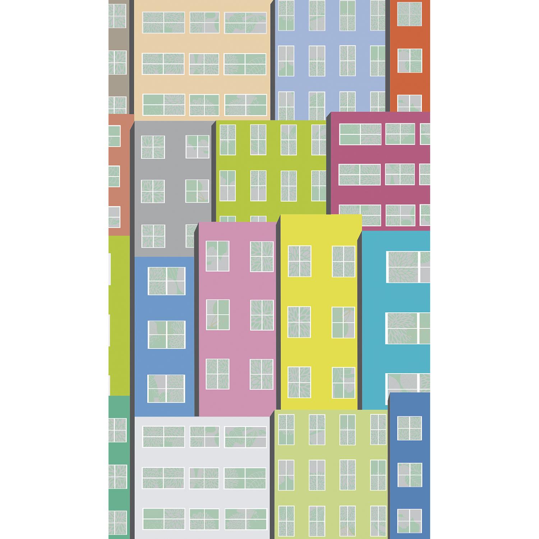 Poster grand format, illustration moderne, style urbain, couleurs du sud, teintes mixtes, façades d'immeubles, fenêtre, 2m50 sur 1m50