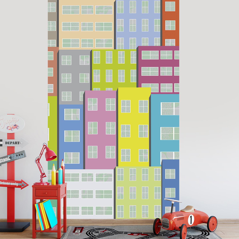 Revêtement mural en papier intissé, panoramique, décoration pour chambre d'enfant, salle de jeu, façades d'immeubles avec fenêtre, couleurs mixtes.
